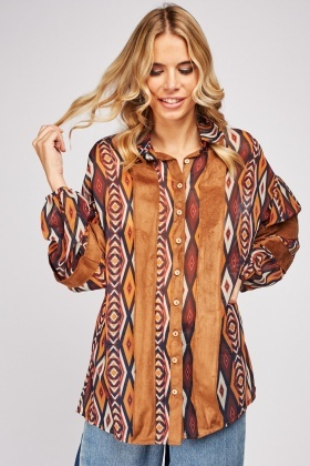 Suedette Trim Sheer Aztec Shirt