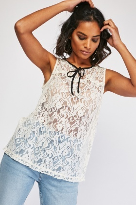 Lace Pattern Shell Top