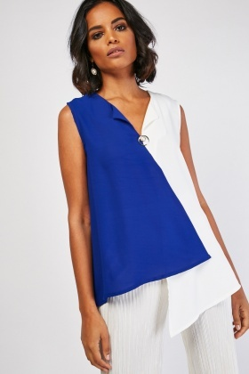 Sheer Chiffon Colour Block Top