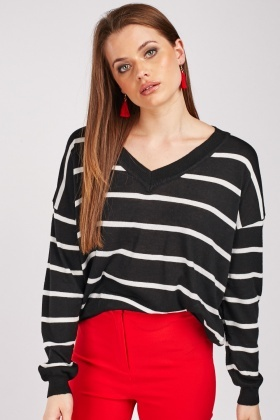 V-Neck Stripe Top