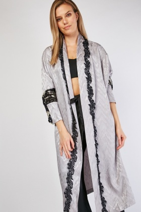 Sequin Sleeve Panel Long Line Kimono