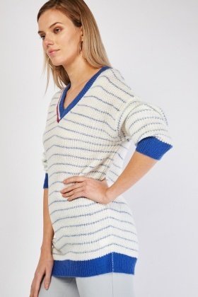 V-Neck Stripe Knitted Jumper