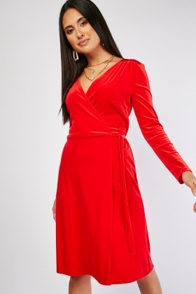 Velveteen Midi Wrap Dress