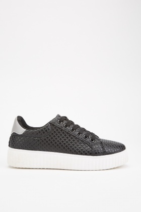 Diamond Patterned Low Top Trainers