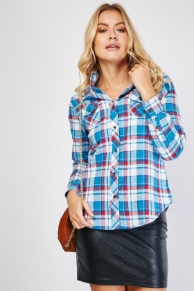 Checkered Grid Twin Pocket Shirt