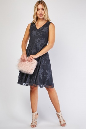 Lace Overlay Skater Dress