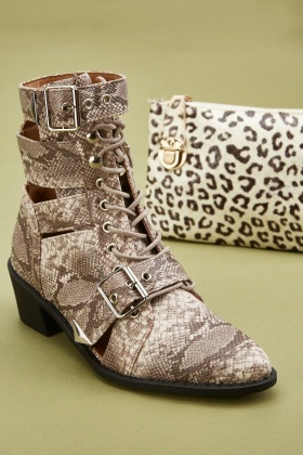 Snake-Skin Effect Ankle Boots