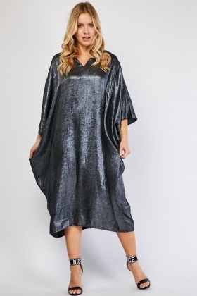 Batwing Sleeve Metallic Dress