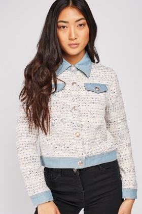 Denim Contrast Tweed Jacket