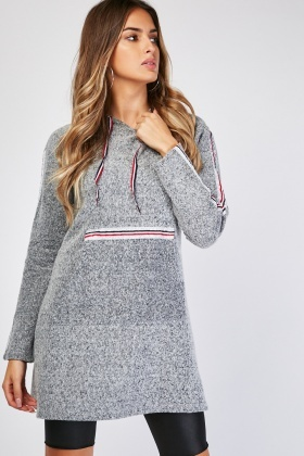 Metallic Stripe Hooded Dress