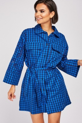 Embroidered Sleeve Checkered Dress