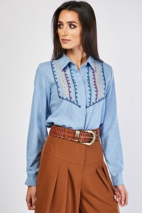 Loop Stitch Pearl Contrast Shirt