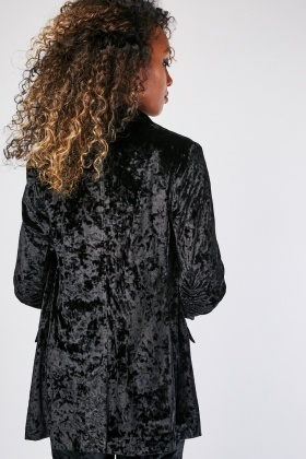 Ruched Sleeve Crushed Velveteen Blazer