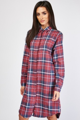Faux Pearl Trim Check Shirt Dress