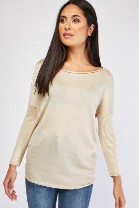 Metallic Insert Ribbed Sleeve Pullover