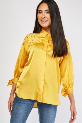 Sateen Lace Insert Shirt