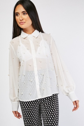 Sheer Pearl Trim Shirt