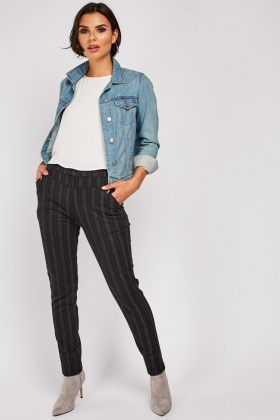 Speckled Pin Stripe Skinny Trousers