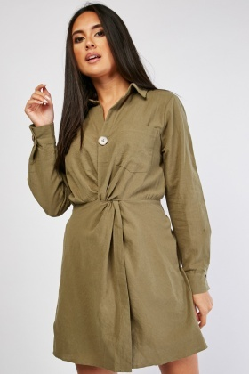 Twisted Front Shirt Dress
