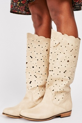 Calf Length Cut Out Circular Boots