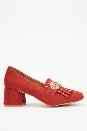 Fringed Suedette Block Heel Loafers