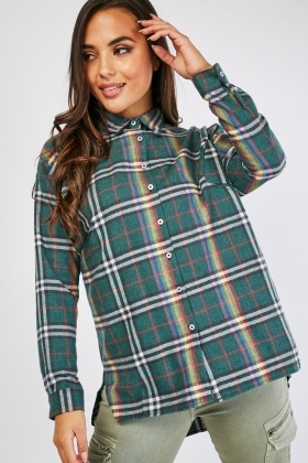 Batwing Sleeve Checkered Shirt