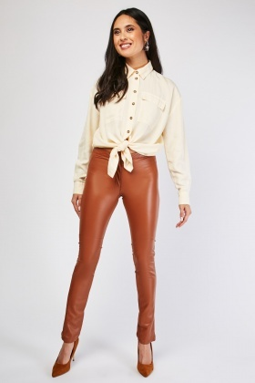 Contrasted Faux Leather Panel Trousers