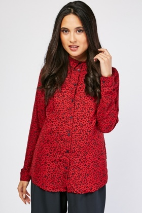 Long Sleeve Leopard Print Shirt
