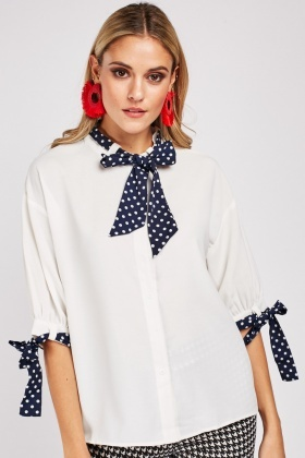 Polka Dot Tie Up Blouse