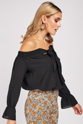 Tie Up Front Off Shoulder Top