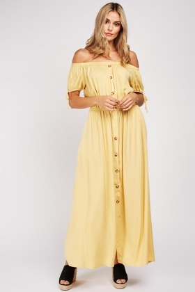 Tie Up Sleeve Off Shoulder Maxi Dress