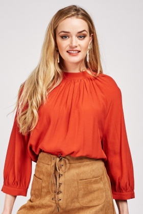 Double Button Back Rust Blouse