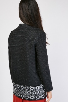 Flower Hem Weaved Jacket