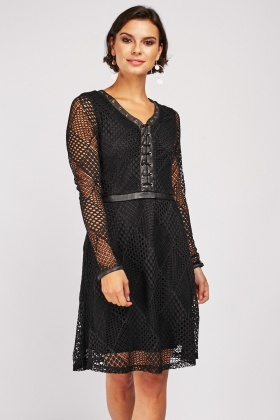 Lace Patterned Skater Dress