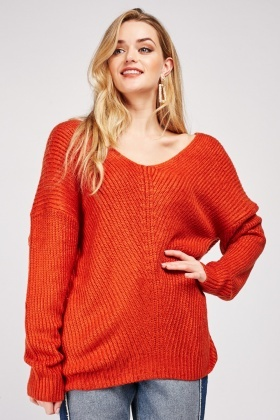 Lace Up Back Herringbone Knit Jumper
