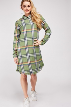 Raw Hem Plaid Dress