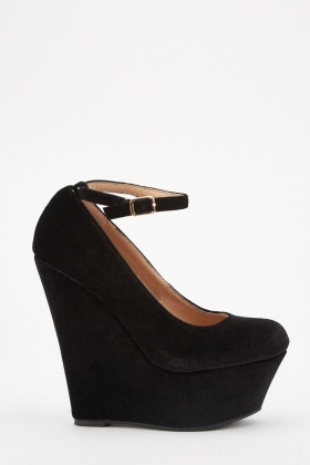 Ankle Strap Platform Wedge Pumps