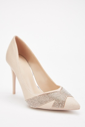 Diamante Encrusted Heeled Pumps