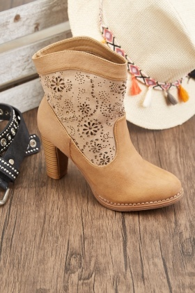 Encrusted Cutwork Flower Ankle Boots
