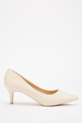 Kitten Heeled Beige Pumps