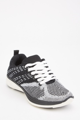 Lace Up Speckled Knit Trainers
