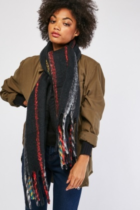 Striped Tassel Trim Scarf