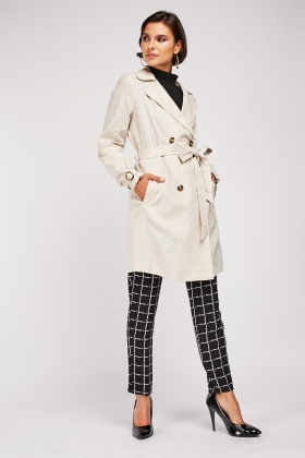 Belted Mix Linen Trench Coat