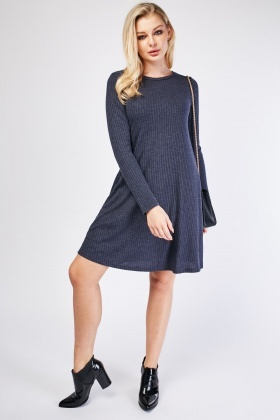 Long Sleeve Navy Ribbed Dress