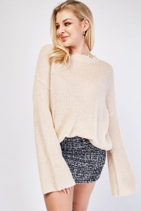 Shimmery Chunky Distressed Knit Jumper