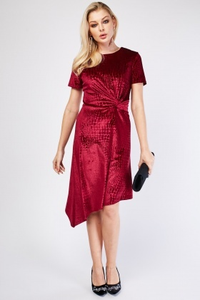 Twisted Mock-Croc Pattern Velveteen Dress