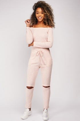 Cut Out Knee Rib Jumpsuit