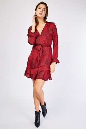 Speckled Ruffle Sateen Dress