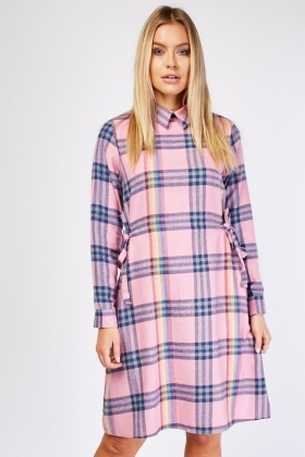 Tie Up Side Midi Plaid Dress