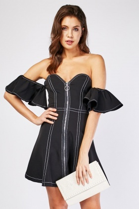 Top Stitched Off Shoulder Mini Dress